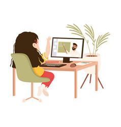 Girl sitting at her desk having online lesson vector