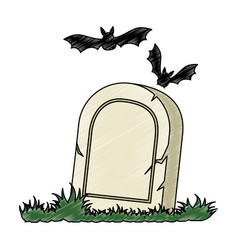 Grave of dead with vampires flying vector