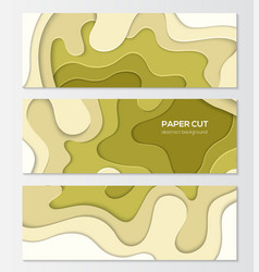 Green abstract layout - set of modern colorful vector