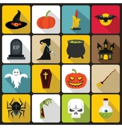 Halloween icons set in flat style vector image