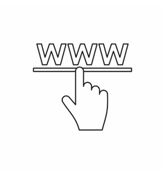 Hand cursor icon in outline style vector image
