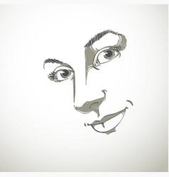 Hand-drawn art portrait of white-skin romantic vector