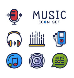 Hand drawn cartoon set music audio related vector
