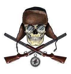 Hand drawn hunter skull vector