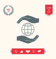 Hands holding earth - protect icon vector