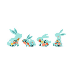 happy easter of bunnies vector image
