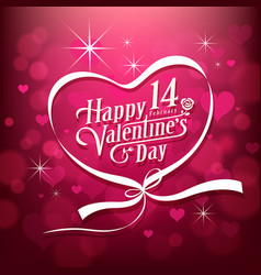 Happy valentine day white message design vector