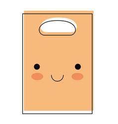 kawaii paper bag with handle in watercolor vector image