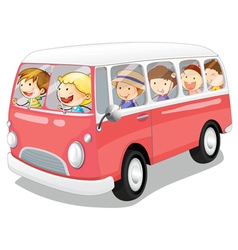 kids in a bus vector image