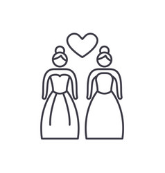 lesbian marriage line icon concept lesbian vector image