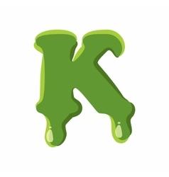 Letter k made of green slime vector