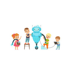 Little kids programming and creating smart robot vector