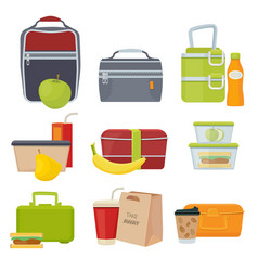 Lunch boxes school healthy daily food packages vector