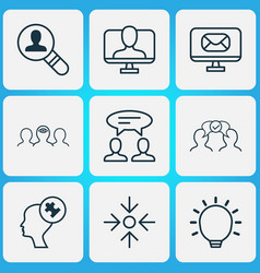 Management icons set with business aim online vector