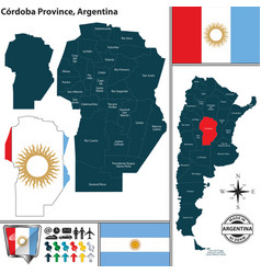 Map of cordoba province argentina vector