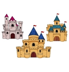 Medieval castles with towers and flags vector image