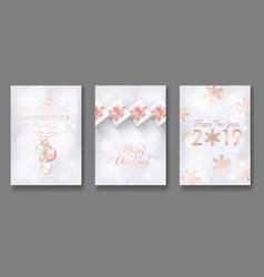 merry christmas cards with christmas balls 2019 vector image