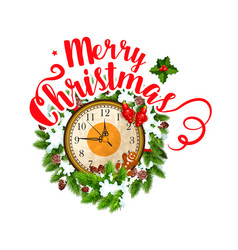 Merry christmas greeting clock icon vector