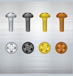 Metallic screw set vector