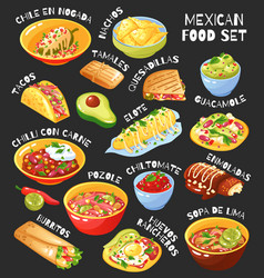 Mexican food set chalkboard vector