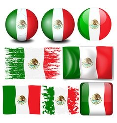 Mexico flag in many design vector image
