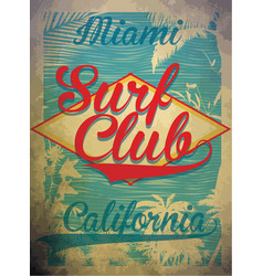 Miami beach surf club concept summer surfing vector