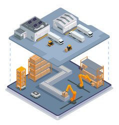 Modern warehouse colored isometric concept vector