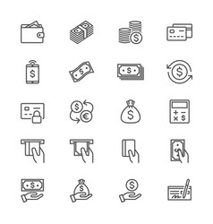 Money thin icons vector