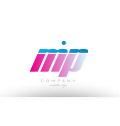 mp m p alphabet letter combination pink blue bold vector image