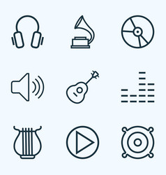Music outlines set collection of plastic vector