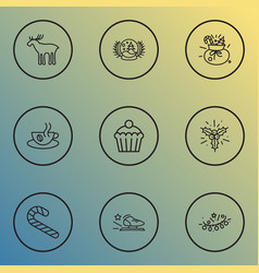 new icons line style set with snow globe racing vector image