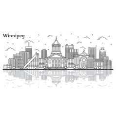 Outline winnipeg canada city skyline with modern vector