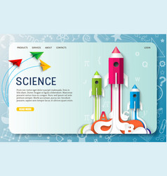 paper cut science landing page website vector image