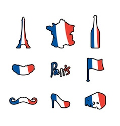 Paris icons set Traditional French national vector