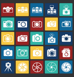 Photo camera icon set on color squares background vector