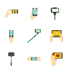 Photo on mobile phone icons set flat style vector