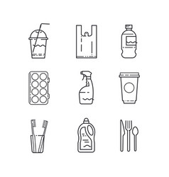 Plastic recycling items simple line icon set vector