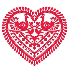 Polish folk art pattern for Valentines Day vector image