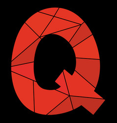 Q red alphabet letter isolated on black background vector