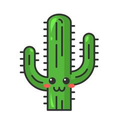 Saguaro cute kawaii character vector