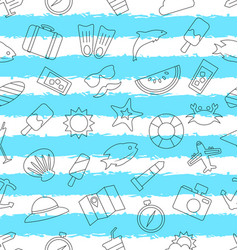 Seamless pattern with hand drawn travel objects vector