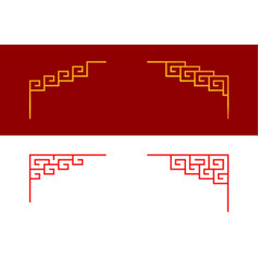 Set chinese line corner ornament art vector