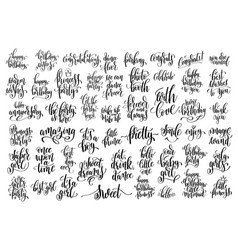 Set of 50 hand written lettering about family vector