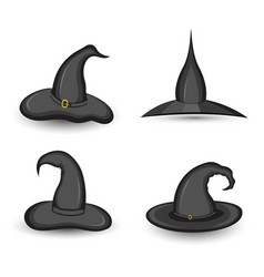 set of witch hat on white background isolated vector image