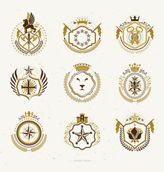 Set retro vintage insignias created with vector