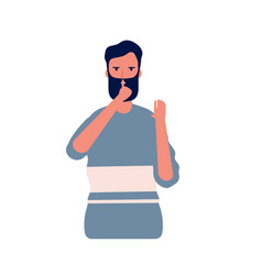 Shh male man with hand gesture near mouth symbol vector