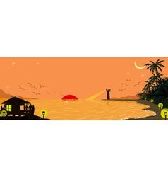 Silhouette beach background vector