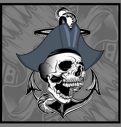 skull pirate hand drawing vector image