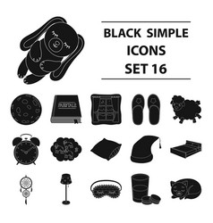 sleep and rest set icons in black style big vector image