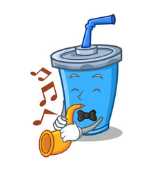 Soda drink character cartoon with trumpet vector